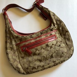 Coach Soho Hobo Shoulder Bag k1k-6070 khaki / red